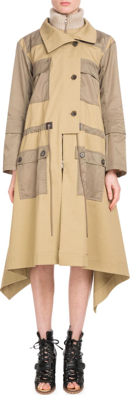 Zip-Front Mid-Calf Parka Coat w/ Nylon Patch Pockets