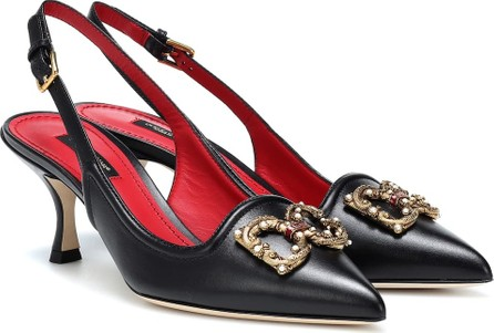 Dolce & Gabbana Embellished leather slingback pumps