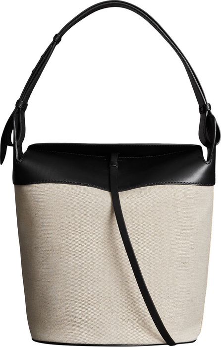 Burberry London England The Large Cotton Linen and Leather Bucket Bag