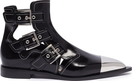 Alexander McQueen Metallic toecap buckle cutout leather ankle boots