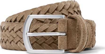 Anderson's 3.5cm Light-Brown Woven Suede Belt