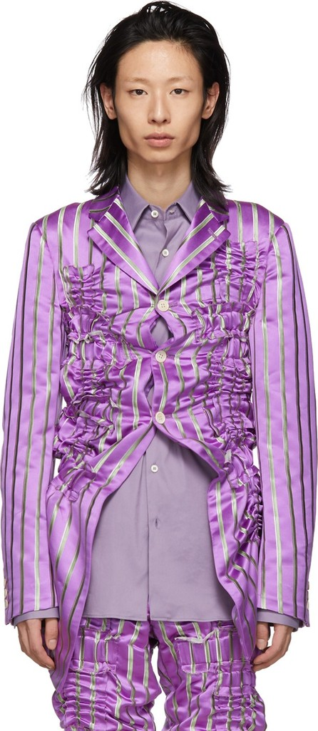 Comme Des Garçons Homme Plus Purple Silk Satin Stripe Blazer
