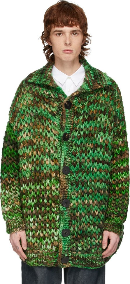 S.R. STUDIO. LA. CA. Green & Brown Oversized Merino Chunky Cardigan