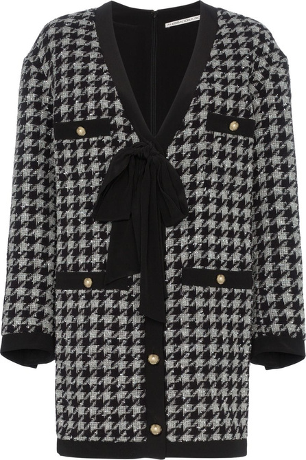 Alessandra Rich Bow embellished houndstooth cardigan