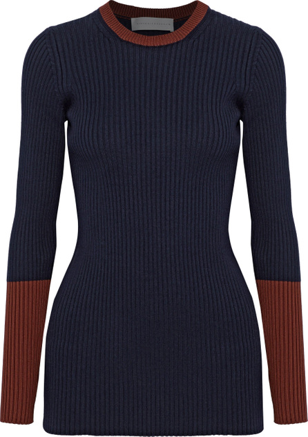 Victoria Beckham Two-tone ribbed wool-blend sweater