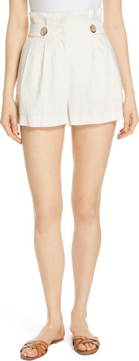 Veronica Beard Gwen Paperbag Waist Linen Blend Shorts
