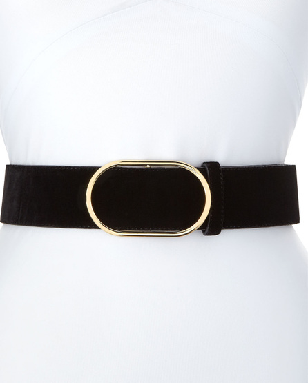 FRAME DENIM Oval-Ring Velvet Leather Belt