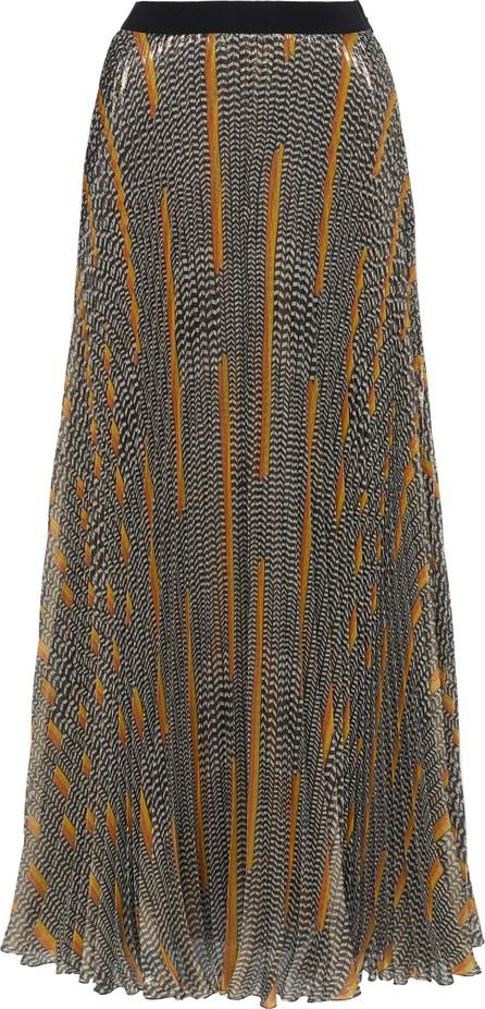 Giambattista Valli Pleated Printed Silk-Chiffon Lamé Maxi Skirt
