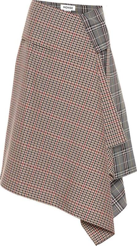 Monse Plaid wool-blend asymmetric skirt