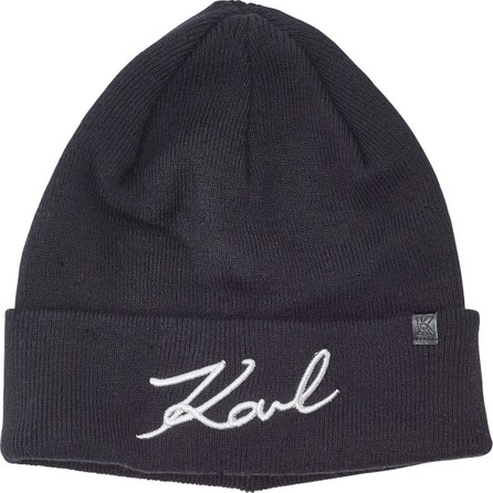 Karl Lagerfeld K/Signature Hat with Cotton and Wool