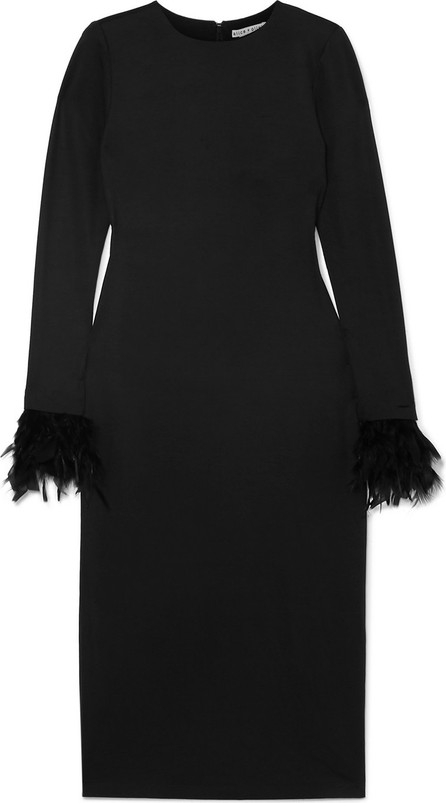 Alice + Olivia Debora feather-trimmed stretch-crepe dress