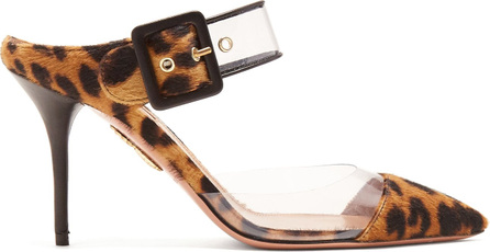 Aquazzura Optic 85 leopard-print buckle-strap mules
