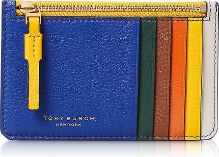 Tory Burch Nautical Blue& Malachite Perry Top-Zip Card Case