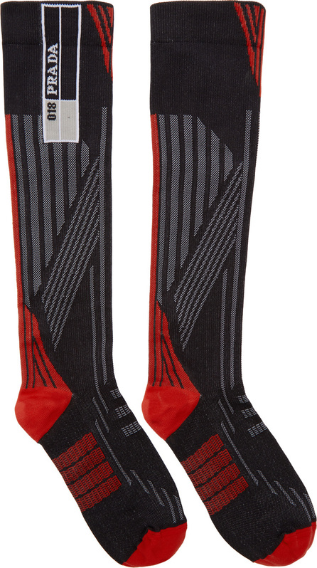 Prada Red & Black Logo Socks
