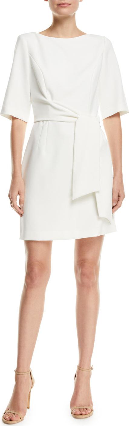 Alice + Olivia Virgil Tie-Waist Cape-Sleeve Dress