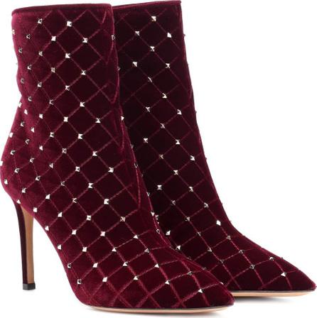 Valentino Valentino Garavani Rockstud Spike velvet ankle boots