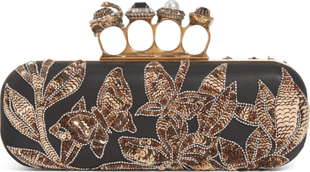 Alexander McQueen Crystal Embellished Leather Knuckle Clutch