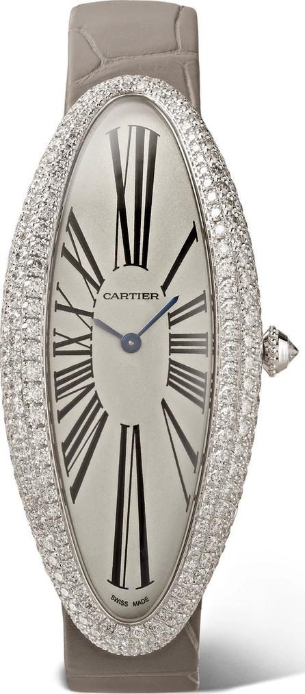 Cartier Baignoire Allongée 23mm extra large rhodium-finish 18-karat white gold, alligator and diamond watch