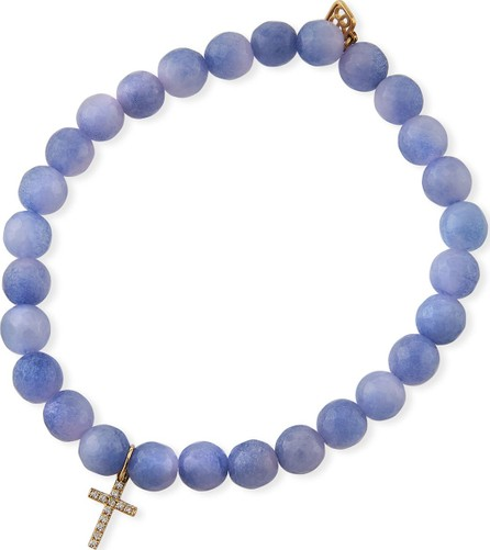 Sydney Evan 14k Small Diamond Cross & Agate Bracelet