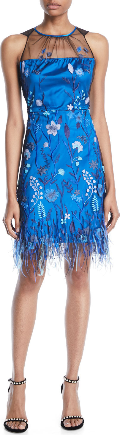 Elie Tahari Litsa Sleeveless Floral-Embroidered Dress w/ Feathers