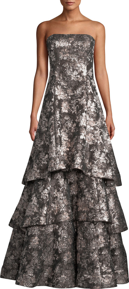 Aidan Mattox Strapless Tiered Metallic Jacquard Evening Gown