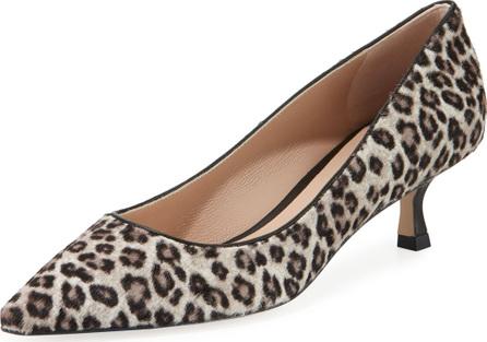Stuart Weitzman Tippi Low-Heel Leopard Pointed-Toe Pumps