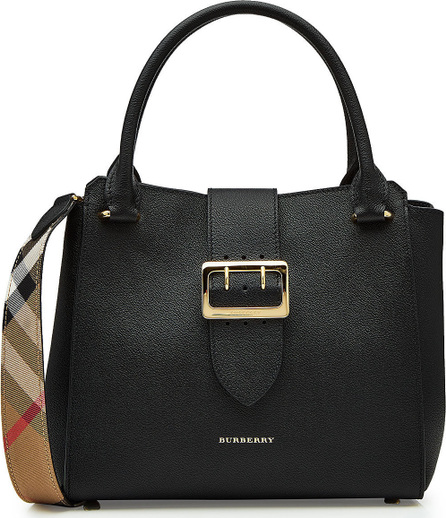 Burberry London England Medium Leather Tote with Buckle Detail