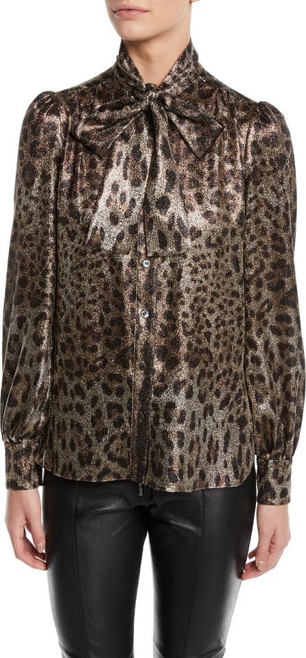 Dolce & Gabbana Tie-Neck Long-Sleeve Metallic Leopard Blouse