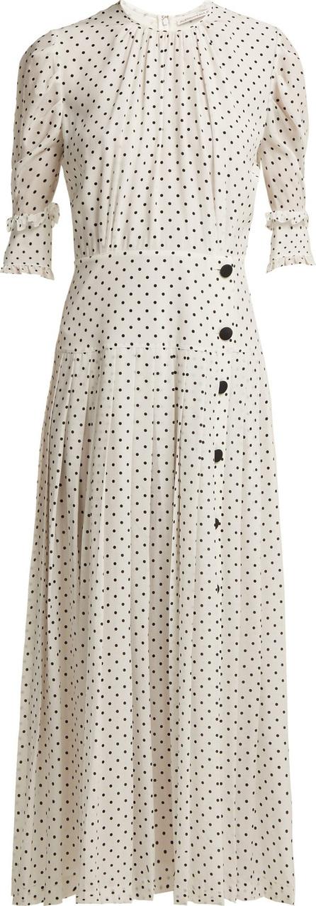 Alessandra Rich Polka dot-print pleated silk dress