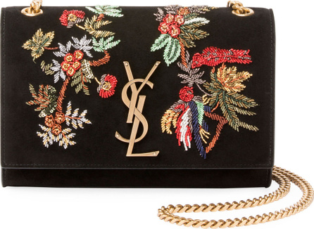 Saint Laurent Monogram YSL Floral Bird Embroidered Suede Flap Wallet on Chain Bag