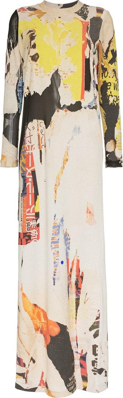 Marques'Almeida Poster print cotton blend maxi dress
