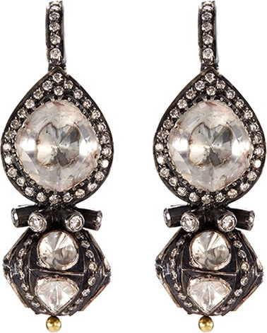 Aishwarya Diamond gold alloy geometric drop earrings