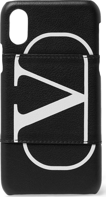 Valentino Valentino Garavani Logo-Print Full-Grain Leather iPhone X/XS Case