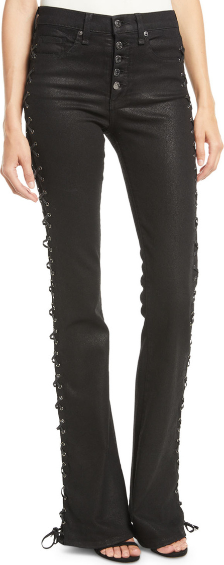 Veronica Beard Beverly Lace-Up Skinny Flare-Leg Jeans