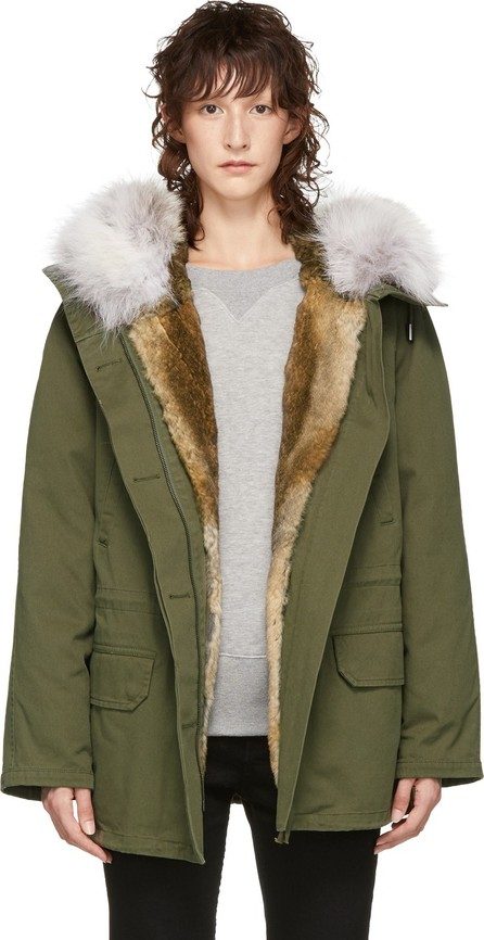Army By Yves Salomon Green Fur-Lined Classic Short Parka