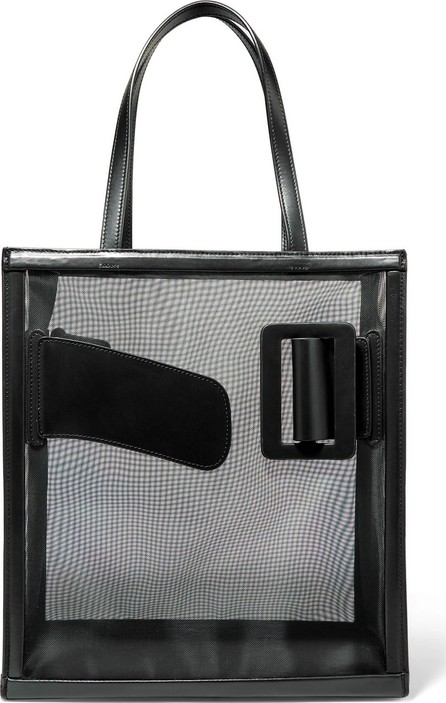 BOYY Frame belted leather-trimmed mesh tote