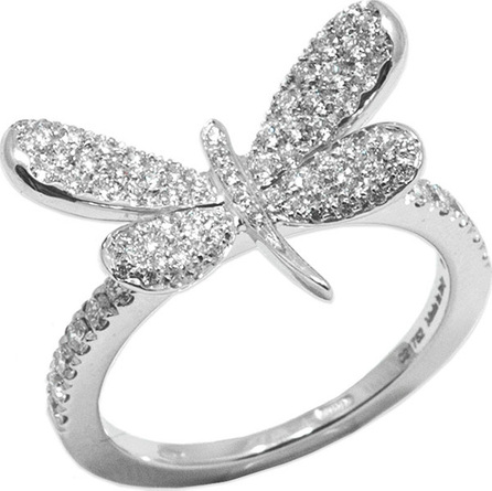 Staurino Fratelli 18k White Gold Nature Diamond Dragonfly Ring