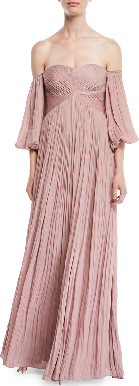 HALSTON HERITAGE Off-the-Shoulder Pleated Gown