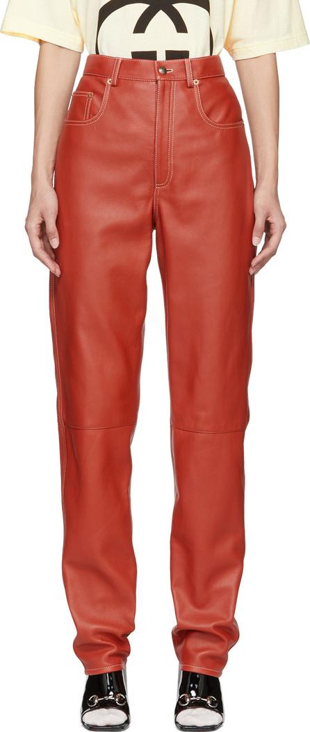 Gucci Orange Leather Trousers