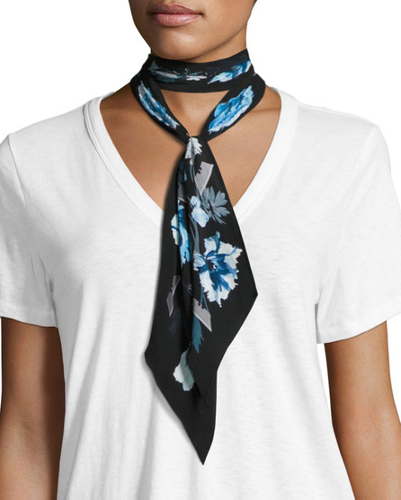 Rockins Flora Super Skinny Silk Scarf, Blue/Black