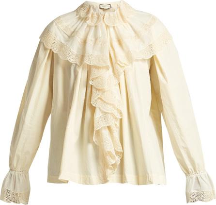 Gucci Macramé lace-trimmed cotton blouse