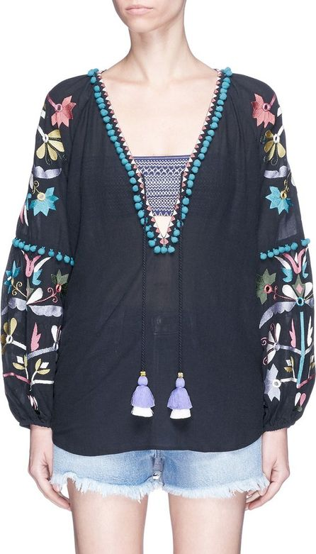 FIGUE 'Victoria' pompom floral embroidered tunic