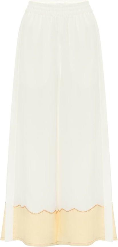 Chloe Silk-crêpe wide-leg pants