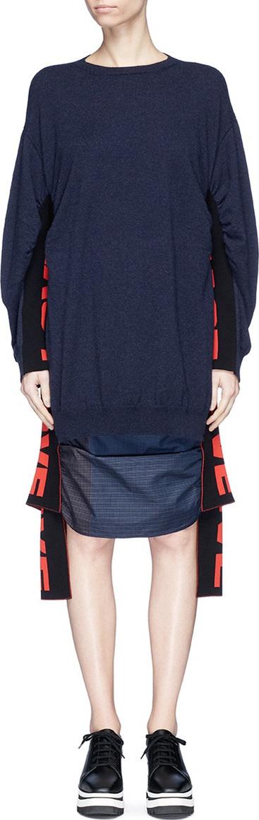 Stella McCartney 'All is Love' slogan sash ruched virgin wool sweater