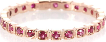Anna Sheffield Wheat Eternity 14kt rose gold ring with rubies