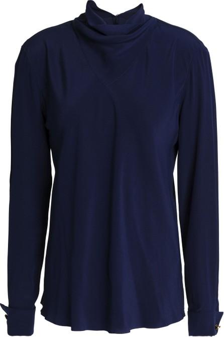 Agnona Draped silk crepe de chine blouse