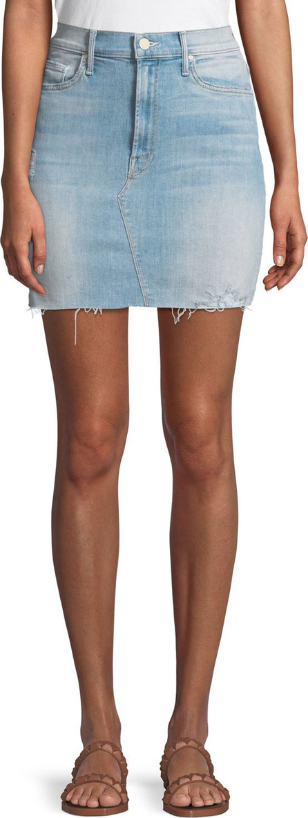 MOTHER Sacred Frayed Denim Mini Skirt