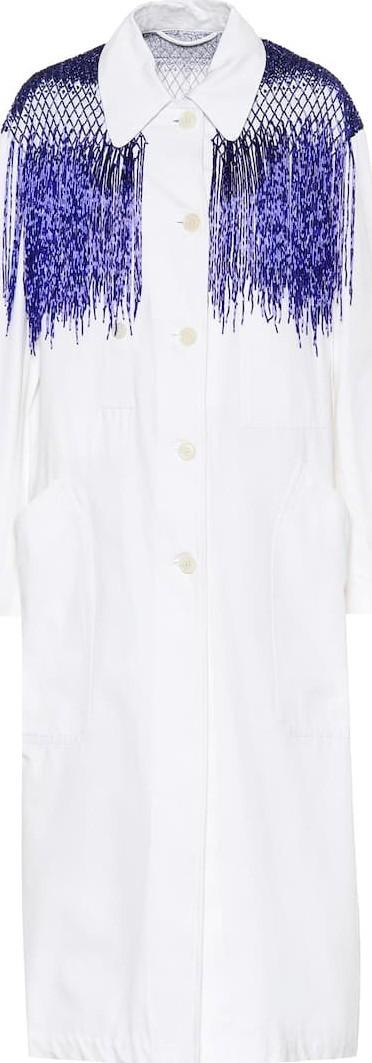 Dries Van Noten Beaded cotton trench coat