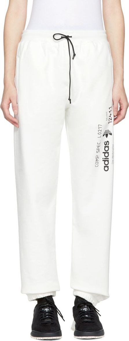 Adidas Originals by Alexander Wang White Graphic Jogger Lounge Pants