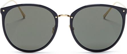 Linda Farrow Acetate front metal round sunglasses